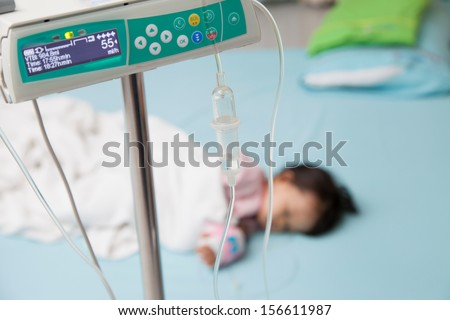 Baby have diarrhea with saline intravenous (iv) - stock photo