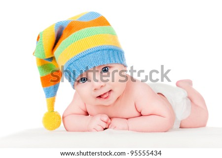 baby in a cap - stock photo