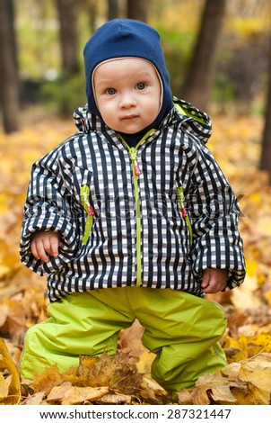 Baby in a park. Yellow leafs and baby - stock photo