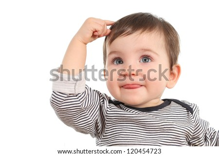 Baby in a thinking pose having an idea on a white background - stock photo