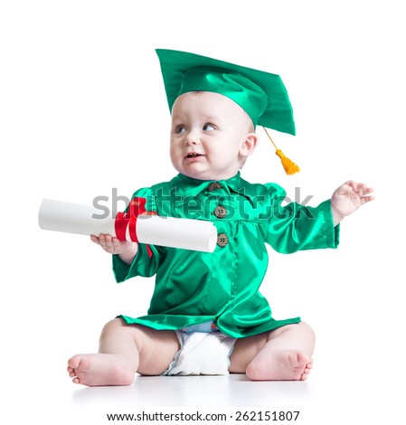 Baby in academician clothes. Concept of early learning child - stock photo