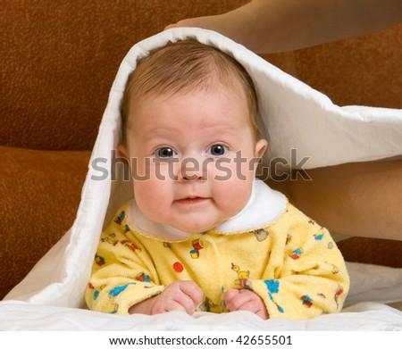 Baby in blanket - stock photo