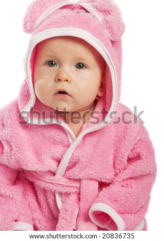 Baby in pink bathrobe, isolated - stock photo
