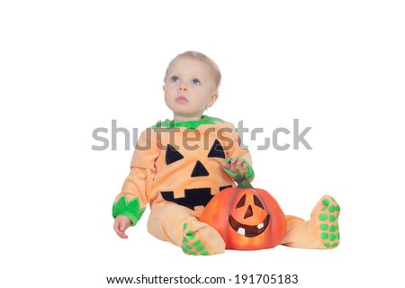 Baby in pumpkin suit isolated on a white background - stock photo