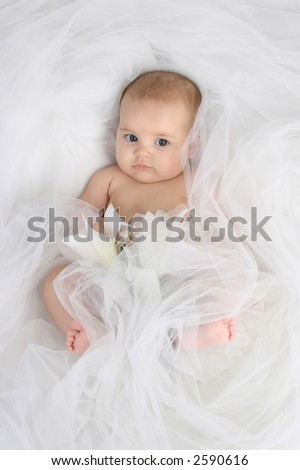 Baby in studio sitting - stock photo