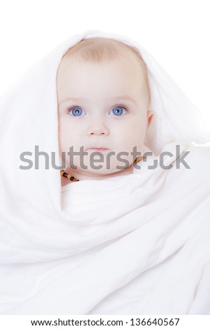 baby in white cloth - stock photo