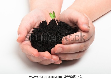 Baby is holding a pile of soil with tiny sprout in his hands - stock photo