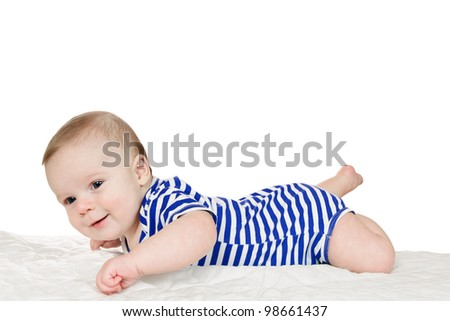 baby lies on stomach with white background - stock photo