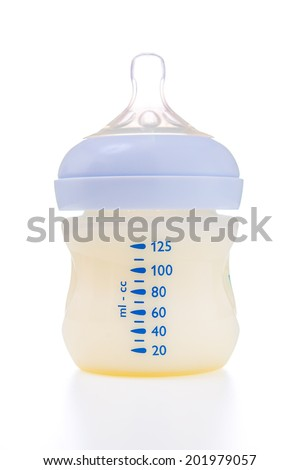 Baby milk bottle isolated on white background - stock photo