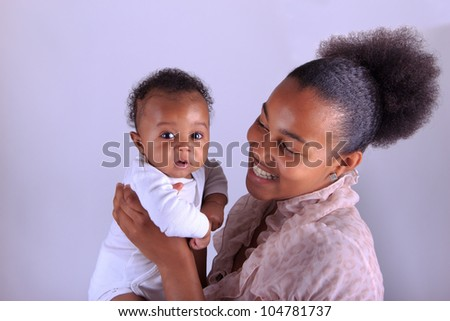 baby newborn african with mother black - stock photo