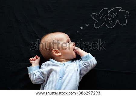 Baby newborn thinking about mother - stock photo