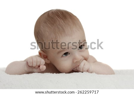 baby on a soft blanket - stock photo