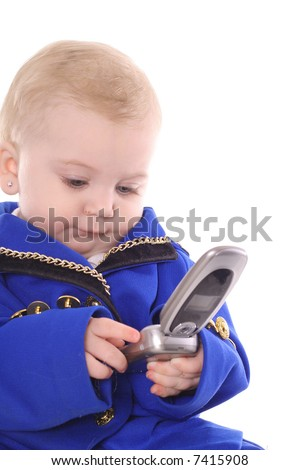 baby on cellphone - stock photo