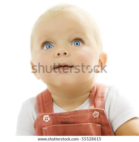 Baby over white - stock photo
