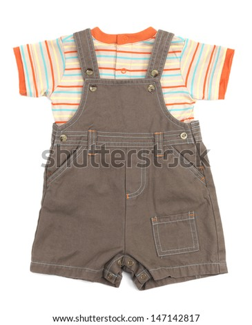 Baby overalls and a shirt set of clothes isolated on white background - stock photo