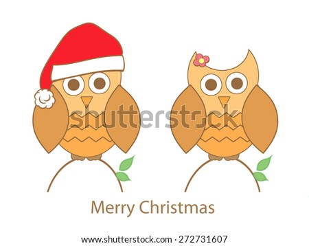 Baby Owls - Christmas - stock photo