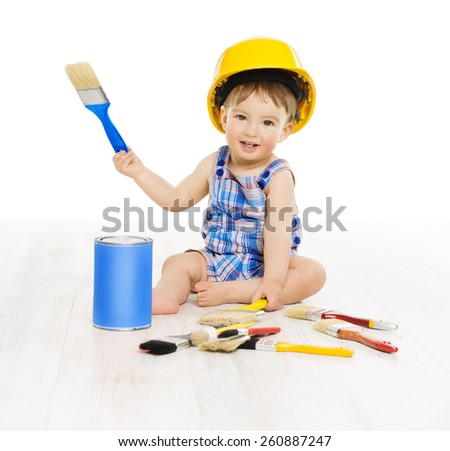 Baby Painting Brush Color. Child Boy Funny Little Designer, Small Kid Play in Hard Hat, Early Profession Concept, Isolated over White Background - stock photo