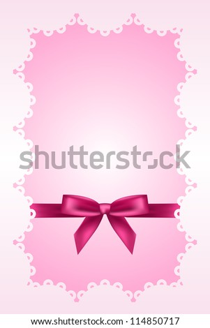 Baby pink background with lace and ribbon - stock photo