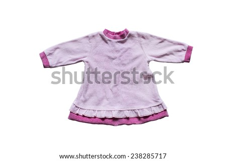Baby pink terry cloth dress isolated over white - stock photo