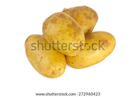 baby potatoes isolated on white - stock photo