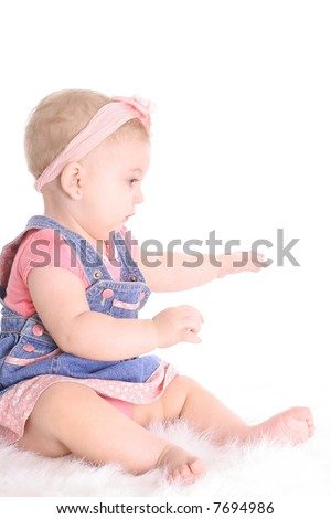 baby profile on white - stock photo