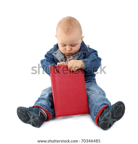 Baby reading book - stock photo