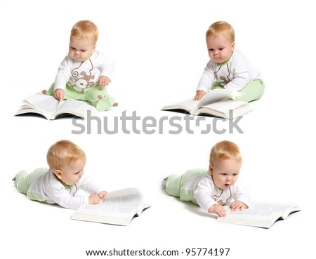 Baby reading montage - stock photo