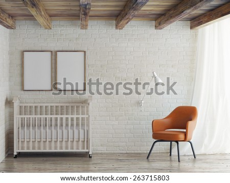 Baby room, mock up poster on brick wall, 3d illustration - stock photo