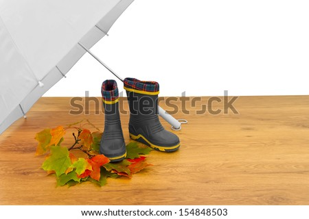Baby rubber boots umbrella maple leaves floor isolated white background grey - stock photo