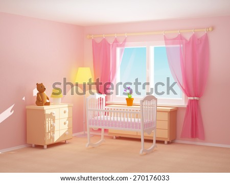 Baby's bedroom with cradle, commode and bear. Empty room, 3d illustration. - stock photo