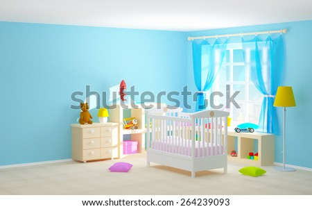 Baby's bedroom with crib, shelves with toys, commode and bear. 3d illustration. - stock photo