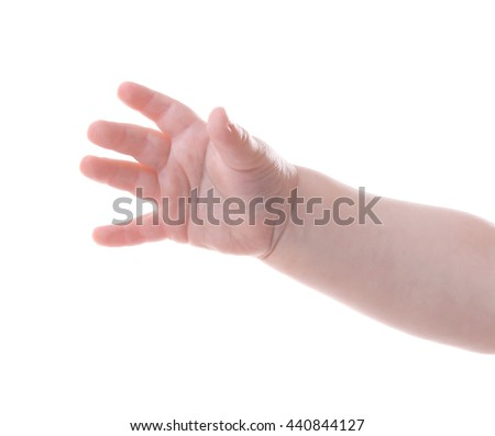 Baby's hand gesturing, isolated on white - stock photo