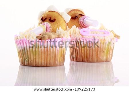 Baby shaped cupcakes - stock photo
