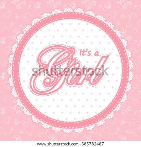 Baby shower card for a girl. Baby Shower invitation template. Baby shower label for a girl. Invitation card for Baby Shower  party. Round frame for Baby shower. It's a girl Baby Shower label.  - stock photo