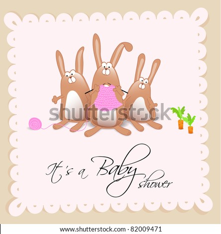 Baby shower card for girl - stock photo