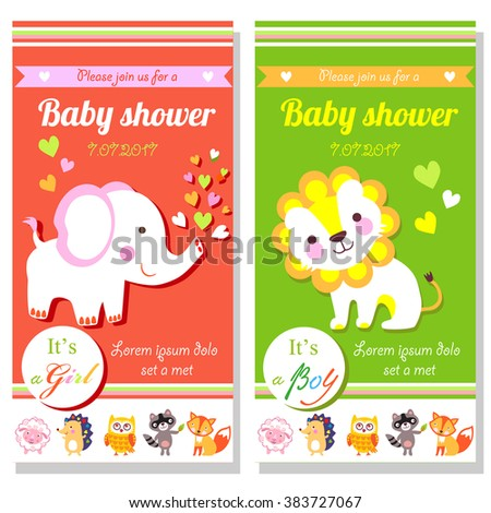 Baby shower cards with cute lion and elephant. It's a girl and it's a boy. Cute animals cards. Cute animals Jpg - stock photo