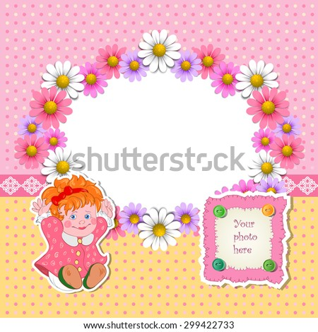 Baby shower for girl with flowers and girl. Raster version - stock photo