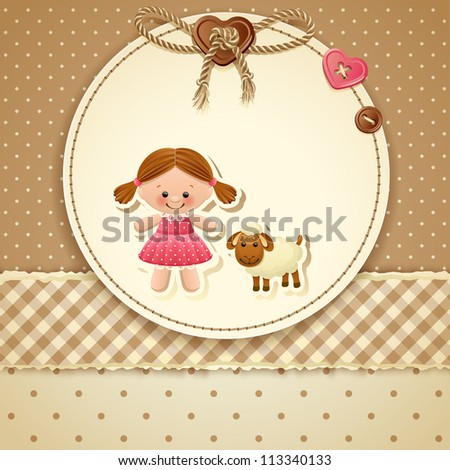 Baby Shower Invitation ( girl) - raster version - stock photo
