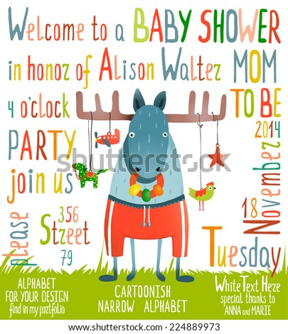 Baby Shower Invitation with Animal. Brightly colored childish moose card. Raster variant. - stock photo