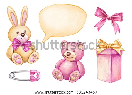 baby shower isolated design elements, watercolor illustration, newborn girl products, birthday plush toys, gift box - stock photo