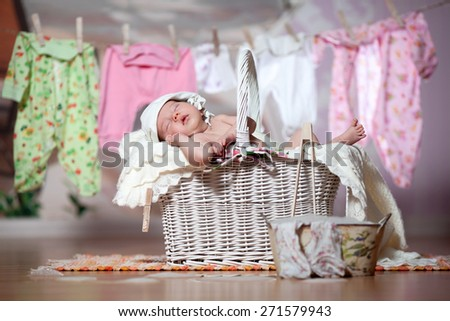 Baby sleeps after washing - stock photo