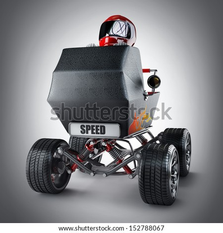 Baby super Carriage with big car wheel and the small racer in a helmet. High resolution 3d render  - stock photo