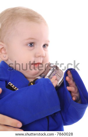baby taking a call - stock photo