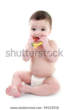 Baby teething - stock photo