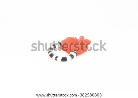 Baby teething ring toy on isolated white - stock photo