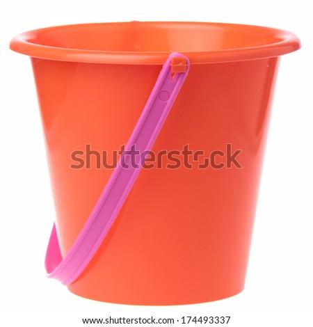 Baby toy bucket isolated on white - stock photo