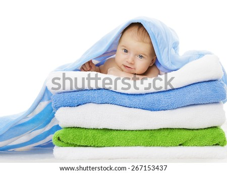 Baby Under Towels Blanket, Clean Kid after Bath, Cute Infant Isolated over White Background - stock photo