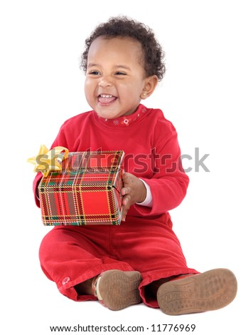 Baby with a gift box a ver white background - stock photo