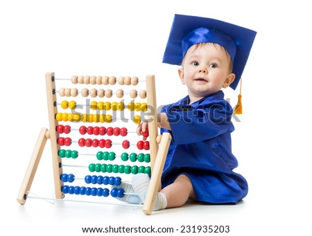 Baby with abacus toy. Concept of early learning child - stock photo