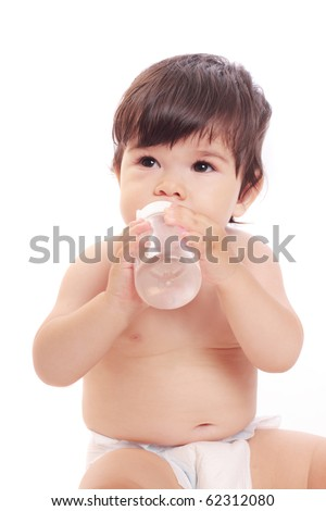 baby with bottle - stock photo